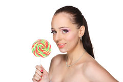 Young woman with lollipop. Royalty Free Stock Image