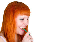 Young woman with lollipop Royalty Free Stock Photo