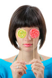 Young woman with lollipops royalty free stock photos
