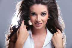Young woman with long beautiful hair Stock Image