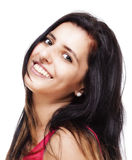 Young Woman with Long Black Hair Smiling Stock Images