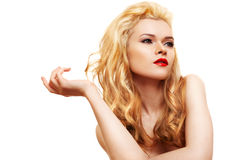 Young woman with long blond hair. And red lips Royalty Free Stock Photo