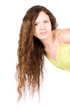 Young woman with long brunette hair Stock Image