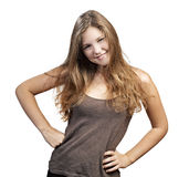 Young Woman with long curly hair Stock Photography