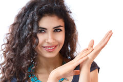 Young woman with long curly hair Royalty Free Stock Image