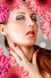 Woman with lashes, nails, red lips Royalty Free Stock Images