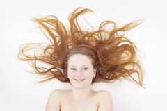 Young woman with long hair Royalty Free Stock Photography