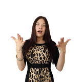 Young woman. Young long haired brunette woman with shocked facial expression and raised hands isolated on white background in square Royalty Free Stock Photo