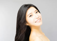 Young Woman with Long and Healthy Black  Hair Royalty Free Stock Images