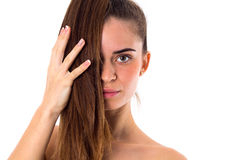 Young woman with long ponytail Royalty Free Stock Image