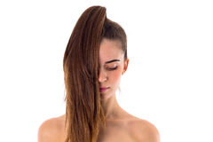 Young woman with long ponytail Stock Photography
