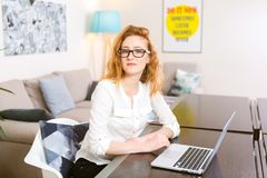 Young woman with long red hair in white shirt and glasses for vision works, looks at the camera, uses gray laptop sitting at woode royalty free stock images