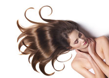 Young woman with beautiful brown hair stock photo