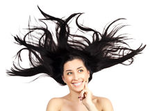 Young woman with long splayed hair. isolated Royalty Free Stock Image