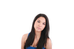 Young woman with long straight brown hair Royalty Free Stock Images