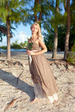 The young woman in a long sundress Royalty Free Stock Photo