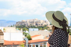 Young woman looking at Acropolis Stock Photography
