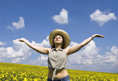 Young Woman Looking At Heart Shaped Clouds Royalty Free Stock Image