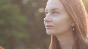 Young Woman Looking at Camera stock video