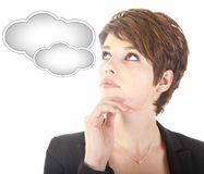 Young woman looking at cloud Royalty Free Stock Photos