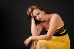 Young woman looking depressed Stock Images