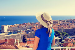 Young woman looking at Dubrovnik, Croatia Royalty Free Stock Image