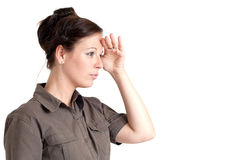 Young woman looking far away Royalty Free Stock Images