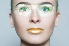 Young woman looking with futuristic smart glasses stock photos