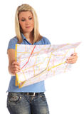 Young woman looking at a map Stock Photo