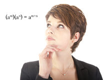Young woman looking at mathematics Stock Photography
