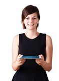 Young woman looking at modern tablet Stock Image