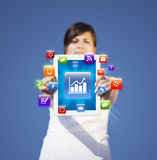 Young woman looking at modern tablet Royalty Free Stock Photo