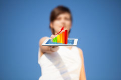 Young woman looking at modern tablet with abstract light and var Stock Photography