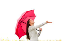 Young woman looking for rain royalty free stock photo
