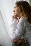 Young woman looking sad Royalty Free Stock Images
