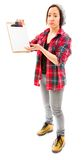 Young woman looking sad with showing clipboard Stock Photo