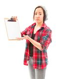 Young woman looking sad with showing clipboard Stock Photos