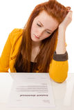 Young woman looking sad was fired from her job. 100 percent pure white background, teen girl is sad Stock Photos