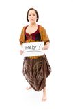 Young woman looking scared and showing help sign on white backgr Royalty Free Stock Images
