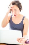 Young woman looking shocked with using laptop Royalty Free Stock Images