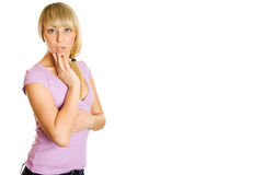 Young woman looking surprised Stock Photo