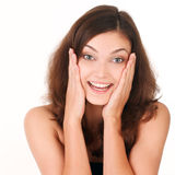 Young woman looking surprised Stock Photography