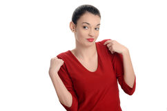 Young woman looking to the side disliking what she sees. Stock Images