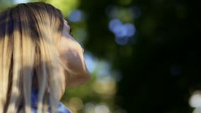 Young woman looking at tree in park. Pretty female enjoy summer nature stock video footage
