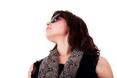 Young woman looking up with sunglasses Royalty Free Stock Photos