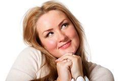 Young woman looking upwards. Royalty Free Stock Photos