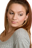 Young woman looks down. Royalty Free Stock Photo