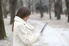 Young woman looks to the tablet in the park Stock Photography