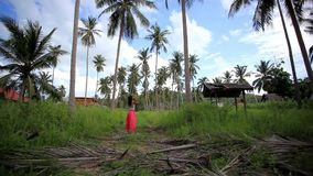 Young woman lost in the jungle, calls for help. stock video footage