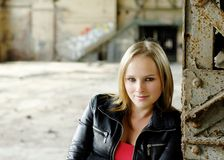 Young woman in a Lost Place Royalty Free Stock Photography